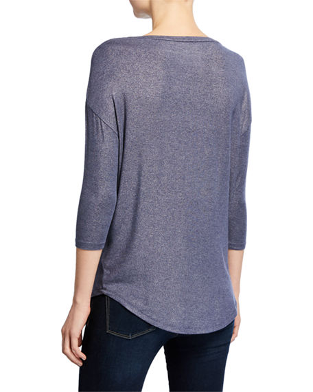 Image 3 of 3: Majestic Filatures Soft-Touch Metallic Long-Sleeve Boat-Neck Top
