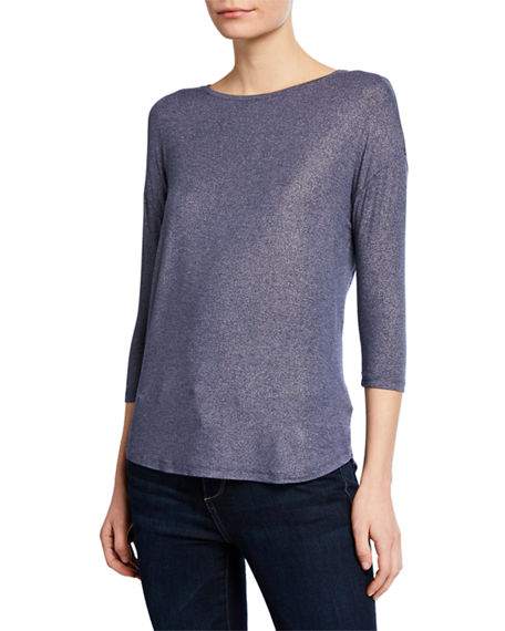 Image 1 of 3: Majestic Filatures Soft-Touch Metallic Long-Sleeve Boat-Neck Top
