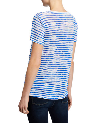 Majestic Filatures Striped Crewneck Short-Sleeve Linen Tee