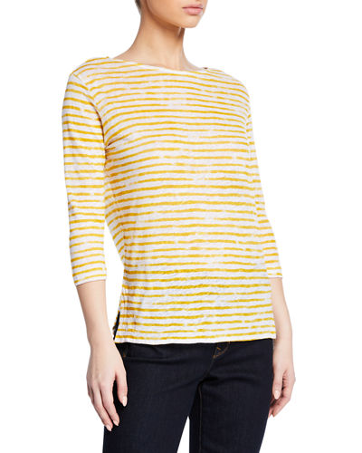 Boat-Neck 3/4-Sleeve Striped Linen Tee