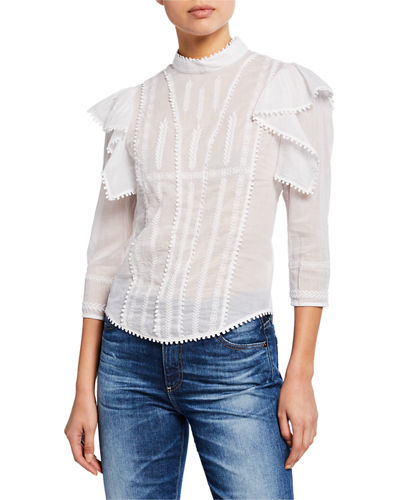 Anny Embroidered Ruffle Blouse