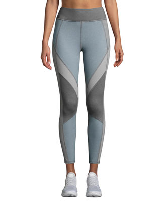MICHI Mist Colorblock Performance Leggings in Blue
