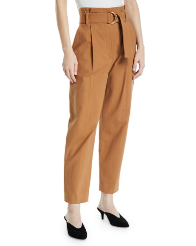 Diego High-Waist Belted Cotton-Stretch Pants