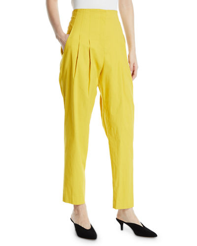 Jackson Pleated High-Rise Linen Pants