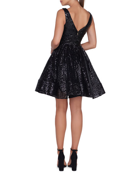 ab547bd35beb Ieena for Mac Duggal Sleeveless V-Neck Fit-and-Flare Dress w ...