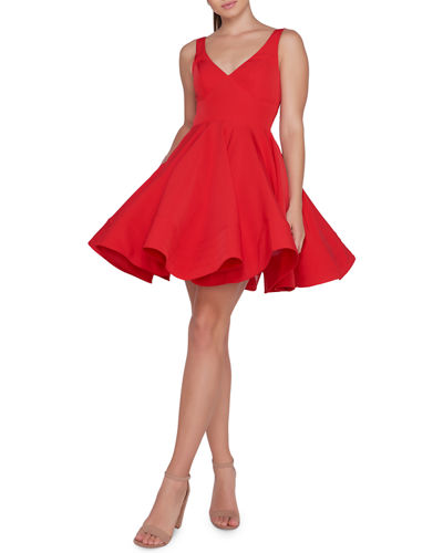 cff6cefe42 Red V Neck Dress