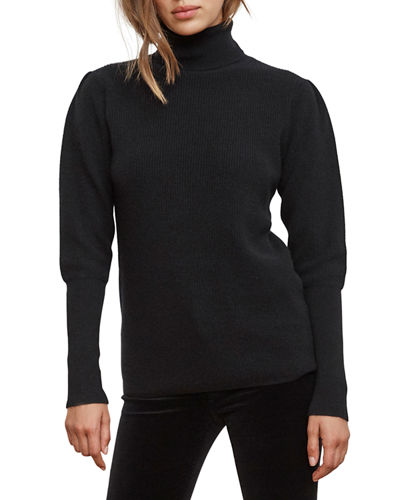 Babette Puff-Sleeve Cashmere Turtleneck Sweater