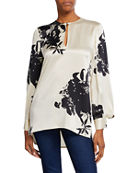 Equipment Delainey Two-Tone Long-Sleeve Blouse