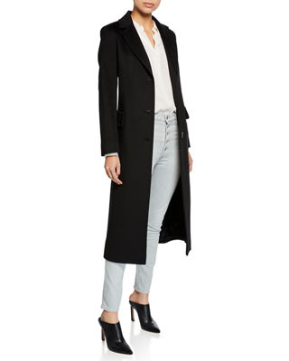 FLEURETTE Wool Three-Button Maxi Coat in Black
