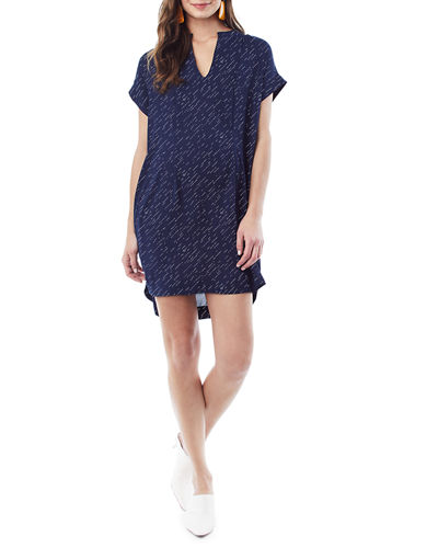 Nursing Cybelle Split-Neck Shirtdress