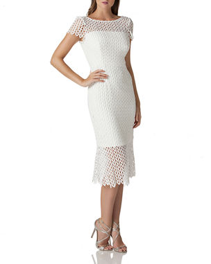 fa1a438b2ff Kay Unger New York Boat-Neck Short-Sleeve Textured Lace Sheath Dress w