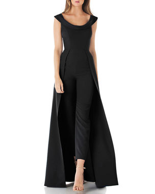 66e1c48f7ff Kay Unger New York Scoop-Neck Cap-Sleeve Jumpsuit with Skirt Overlay