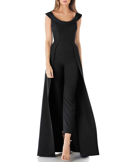 Kay Unger Scoop-Neck Cap-Sleeve Jumpsuit with Skirt Overlay