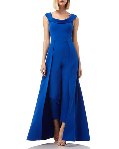 Scoop-Neck Cap-Sleeve Jumpsuit with Skirt Overlay