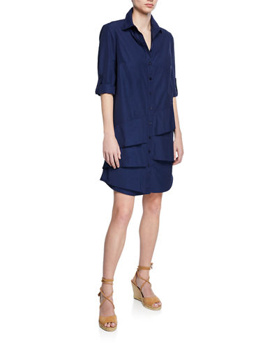 Plus Size Jenna Button-Front Roll-Tab Tiered-Ruffle Shirtdress