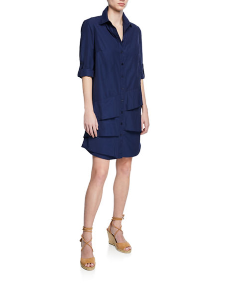 Finley PLUS SIZE JENNA BUTTON-FRONT ROLL-TAB TIERED-RUFFLE SHIRTDRESS