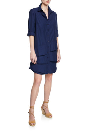 Finley Petite Jenna Button-Down Roll-Tab Long-Sleeve Ruffle-Tiered Shirtdress