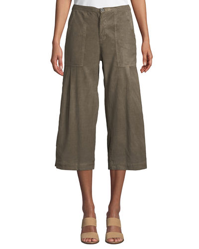 Plus Size Flicker Wide-Leg Cropped Twill Trousers w/ Snap Detail