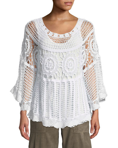 Pastoral Scoop-Neck Crochet Poncho Top w/ Built-in Tank Top