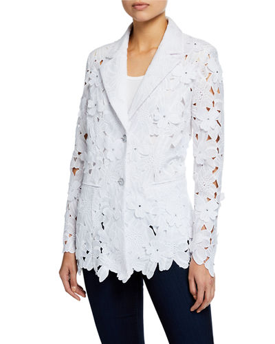 Berek Plus Size Peek-A-Boo 3D Open Floral Lace Button-Front Jacket