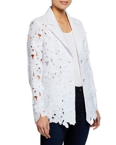 Plus Size Peek-A-Boo 3D Open Floral Lace Button-Front Jacket