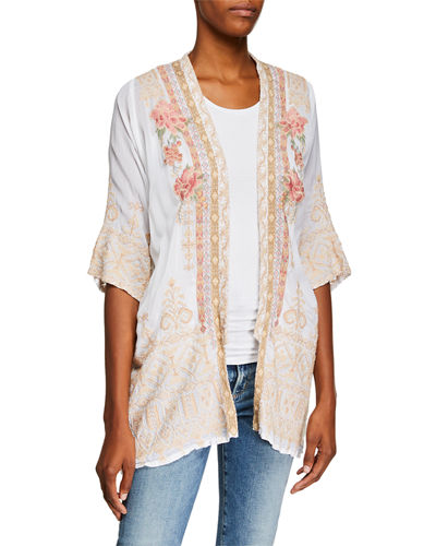 Petite Helena Open-Front 3/4-Sleeve Embroidered Georgette Kimono
