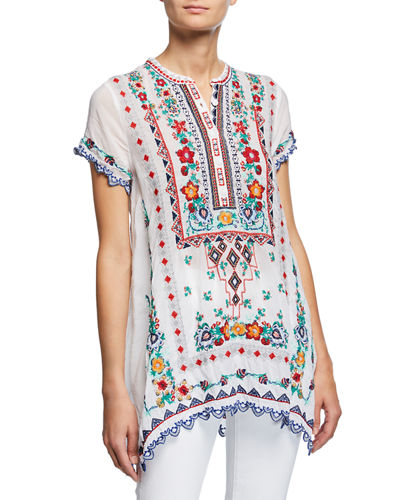Plus Size Liesse Short-Sleeve Embroidered Georgette Easy Tunic