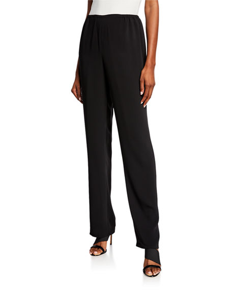 Caroline Rose Pants SUZETTE CREPE STRAIGHT-LEG PANTS
