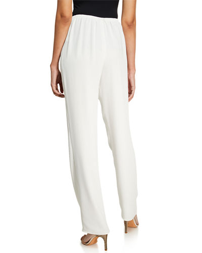 Caroline Rose Suzette Crepe Straight-Leg Pants