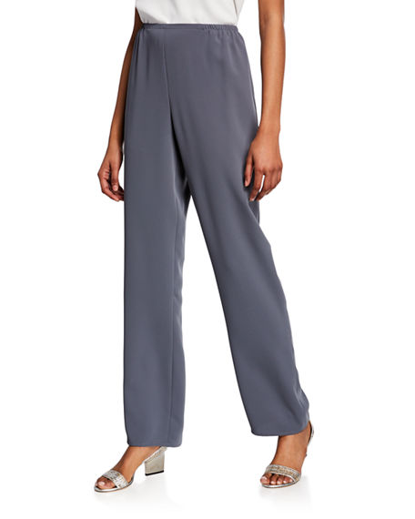 Caroline Rose Pants PLUS SIZE SUZETTE CREPE STRAIGHT-LEG PANTS