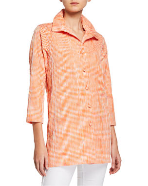 a0563da0bd17c6 Caroline Rose Button-Front Crinkled Gingham Shirt with Ruched Collar