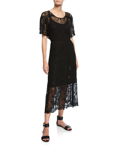 Scoop-Neck Short-Sleeve Sheer Lace Midi Dress w/ Tasseled Tie-Belt