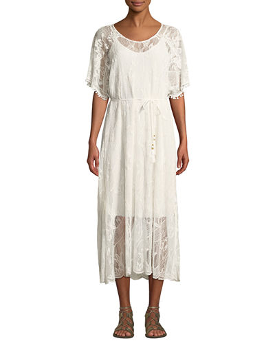 Petite Scoop-Neck Short-Sleeve Sheer Lace Midi Dress w/ Tasseled Tie-Belt