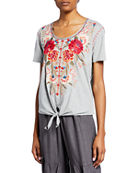 Johnny Was Burke Scoop-Neck Short-Sleeve Knot-Front T-Shirt and
