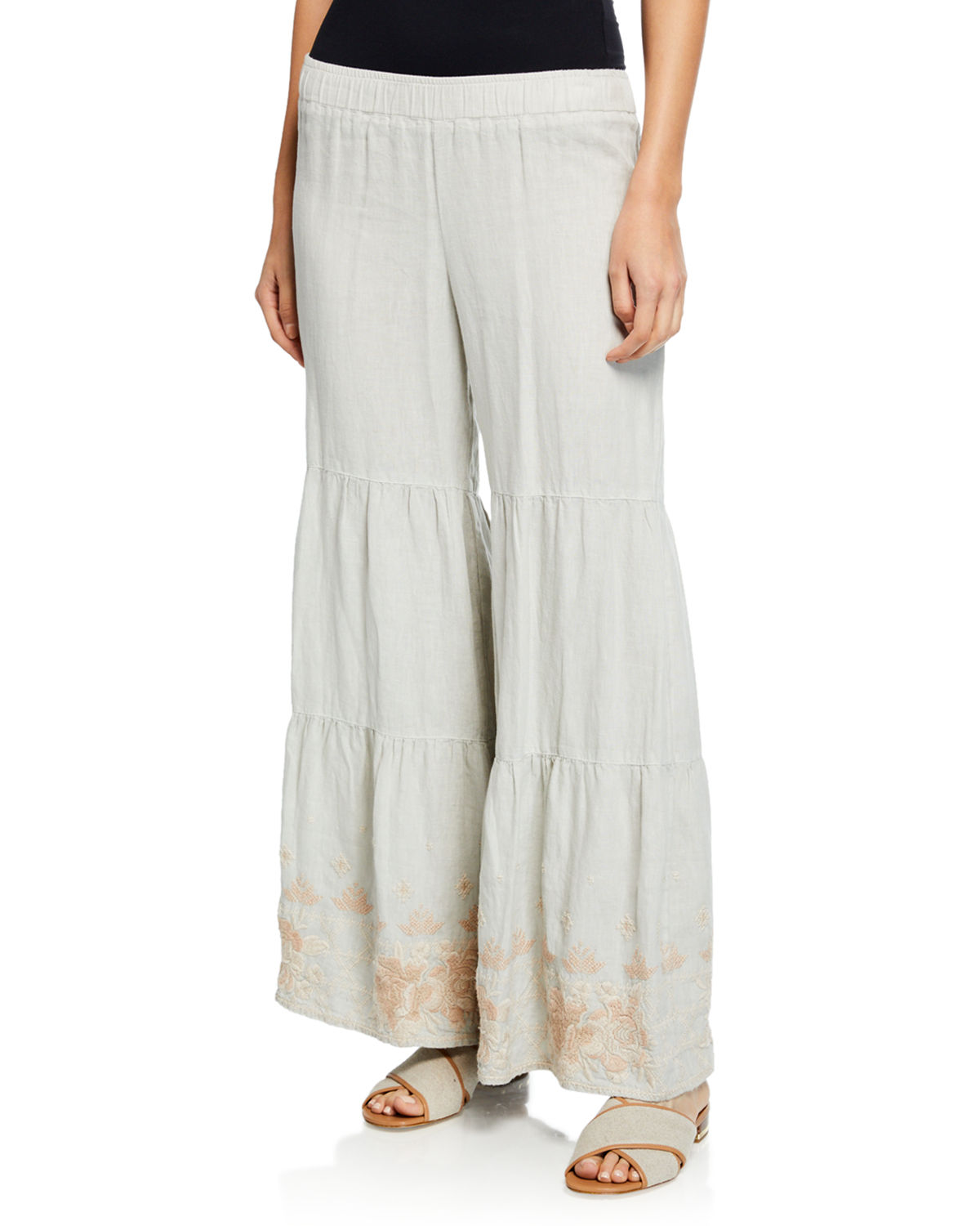 7acdf57033 Johnny Was Plus Size Sienne Wide-Leg Tiered Linen Palazzo Pants w   Embroidered Hem
