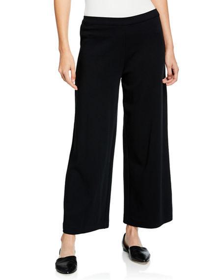 Joan Vass Stretch-Interlock Wide-Leg Ankle Pants