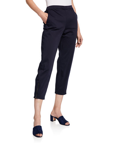 Padme Cropped Chino Trousers w/ Pockets & Zip-Hem