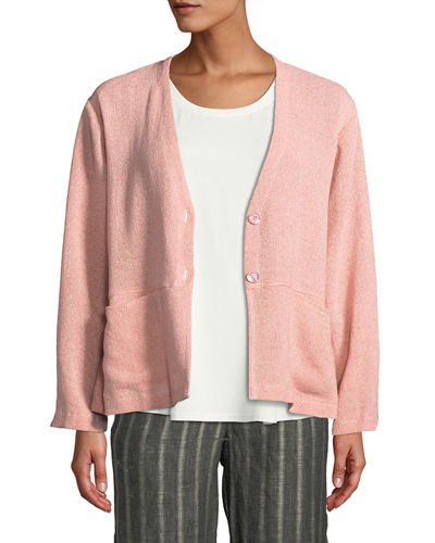 Jaca Button-Front Long-Sleeve Boucle Cardigan