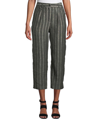 Paolana Cropped Straight-Leg Linen Culotte Pants w/ Vertical Stripes