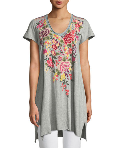 Adeline Short-Sleeve Draped Long V-Neck Tunic