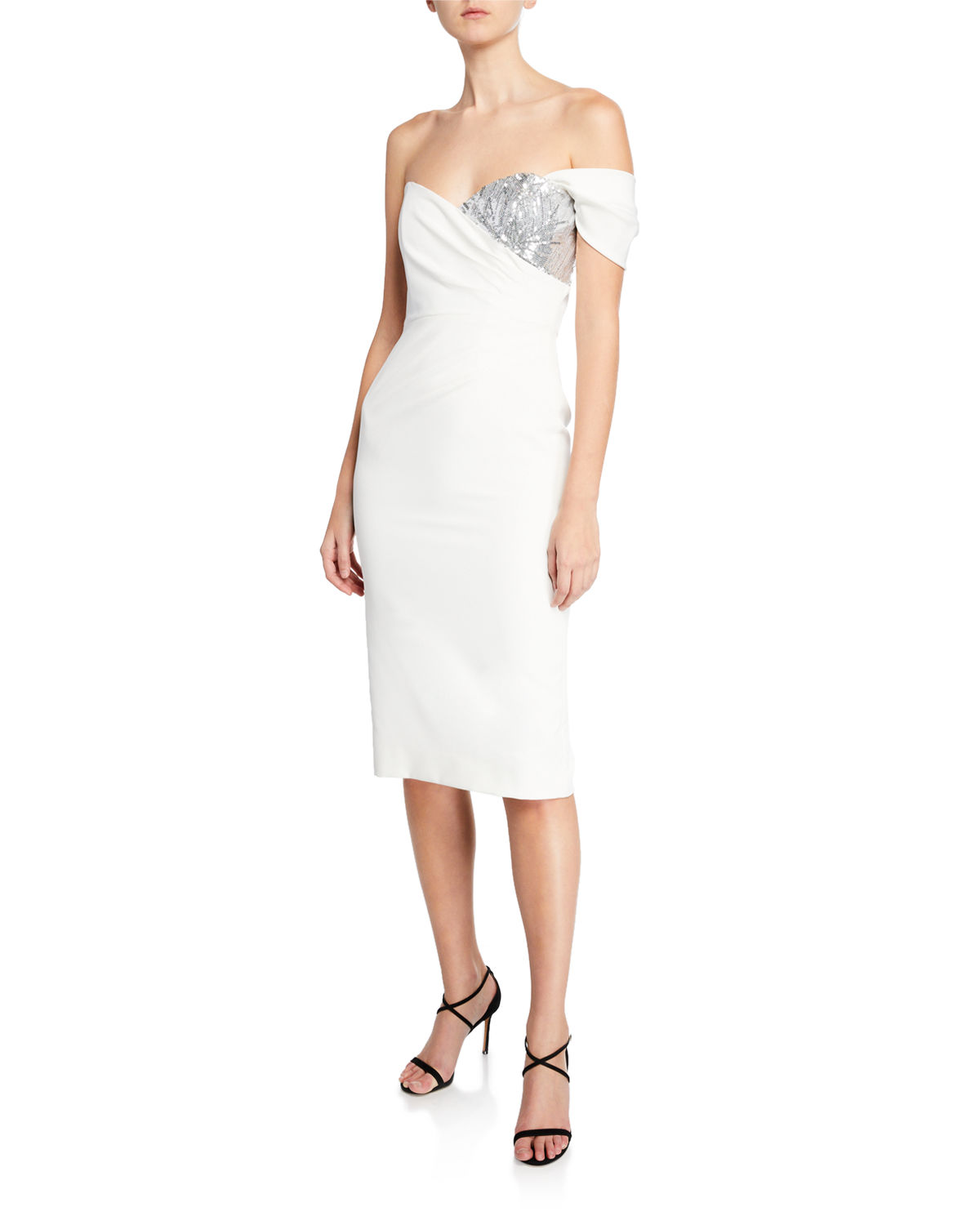 e01df5741d1d Milly Esme One-Sleeve Italian Cady Sheath Dress w/ Sequin Embellishment |  Neiman Marcus