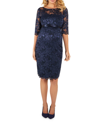 Tiffany Rose Maternity Amelia Scalloped Lace Dress with Satin Sash