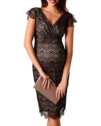 Maternity Imogen Surplice Cap-Sleeve Eyelash Lace Shift Dress