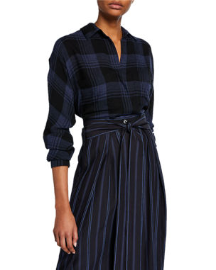 e62f8eac701 Vince Heathered Plaid Long-Sleeve Pullover Top