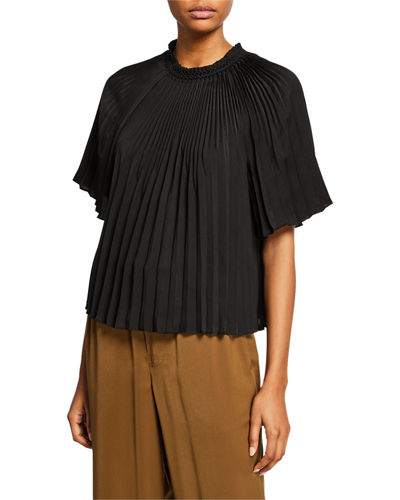 78c23bb8 Quick Look. Vince · Pleated Crewneck Short-Sleeve Top