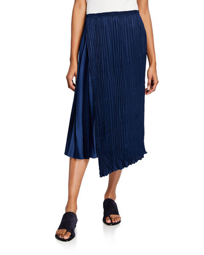Mixed-Pleat Asymmetric Maxi Skirt