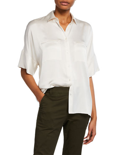 584f9363fa Quick Look. Vince · Button-Down Short-Sleeve Silk Satin Blouse