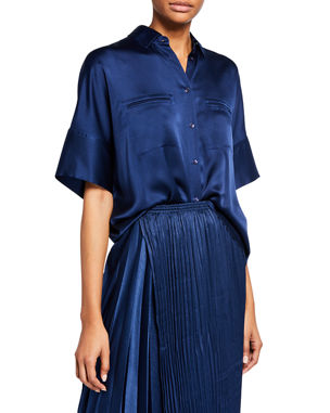 ba1f04442aa4b2 Vince Button-Down Short-Sleeve Silk Satin Blouse