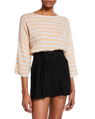 Boxy-Fit Striped Wool-Cashmere T-Shirt