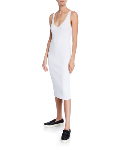 55e841bbf05f2 Quick Look. Vince · Ribbed Double V-Neck Sleeveless Dress. Available in  White